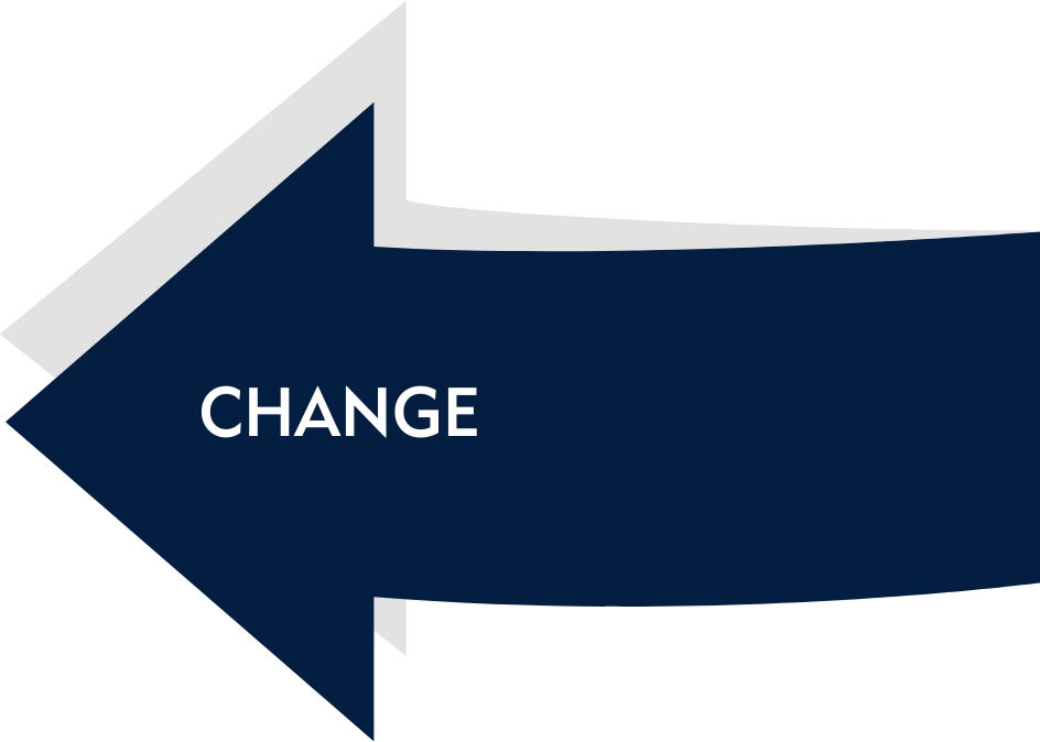 arrow with text saying change