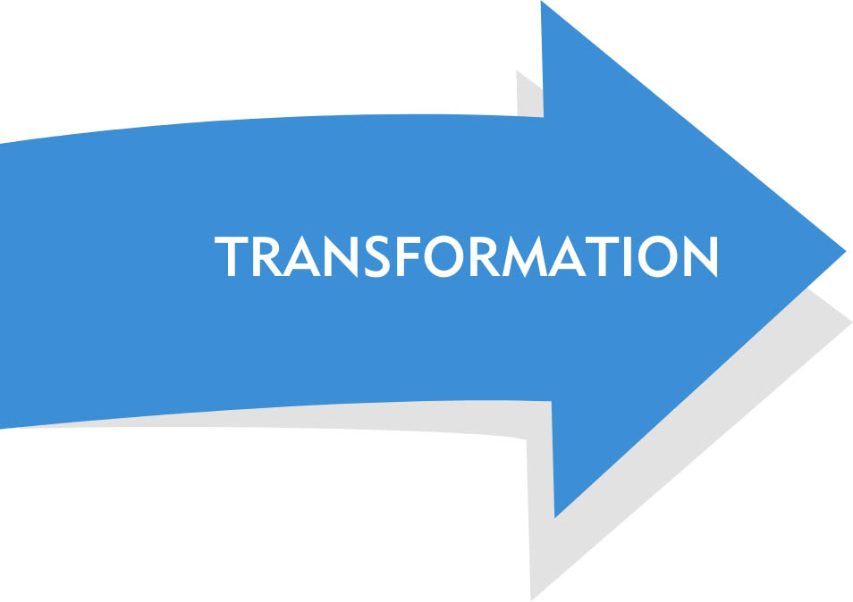 arrow with text saying transformation